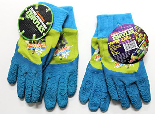 Teenage Mutant Ninja TURTLES Gripping Gloves for Kids (2-pack) - 100% Cotton Back with Latex Palm and Fingers for Added Gripping - Work Gloves for Kids - Perfect for Summer - Center Springs Palm Outlet