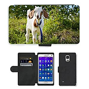 PU LEATHER case coque housse smartphone Flip bag Cover protection // M00134413 Cabra Kitz Animal joven Animal Mammal // Samsung Galaxy Note 4 IV