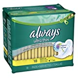Always Ultra Thin Regular with Wings Unscented Pads 18 CT (Pack of 24)