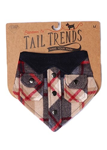 Tail Trends Lumberjack Buffalo Check Dog Bandanas for Medium to Large Sized Dog - 100% Cotton