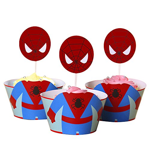 QMZ Cupcake Toppers Wrappers - Kids Birthday Party Supplies, 12 Sets (Blue) -