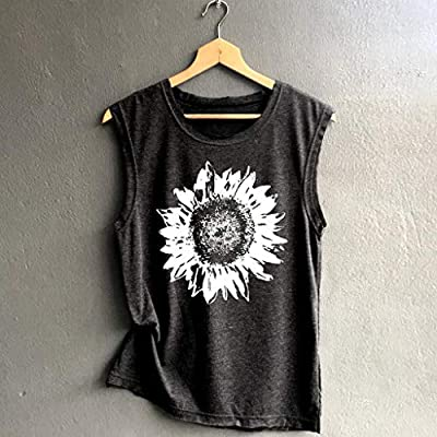 Portazai Women Tank Tops Workout Sports Shirts Print Sleeveless Blouses Casual Tunics Athletic Yoga Tops at Women's Clothing store