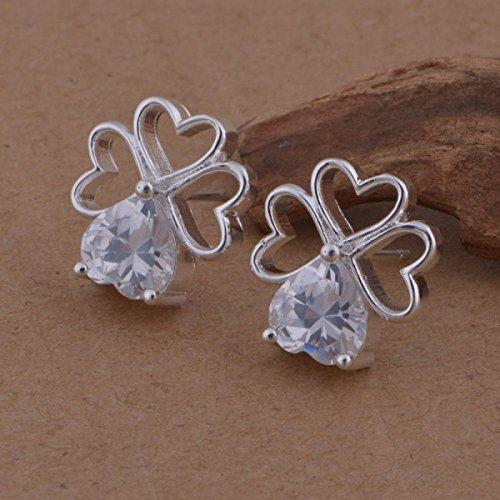 Boucles d'oreilles trèfle de coeurs cristal swarovski elements zirconium argent 925