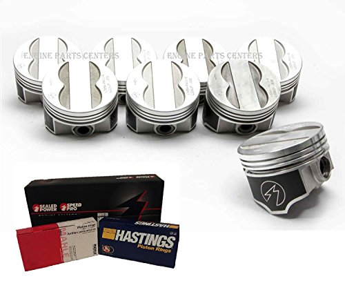 (Pontiac 400 Forged TRW Pistons Speed Pro L2262F .030 Flat Top 4 Valve Relief Set 8 With RINGS (4.150