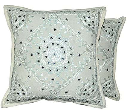 indian mirror work cushion covers