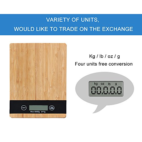 Digital Kitchen Scales Multifunction Food Scale Bamboo material Surface Touch Screen (Surface Material)