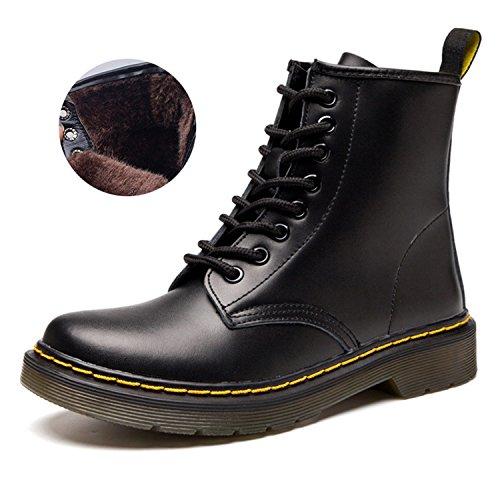 Stiefeletten Winterstief Warme Erwachsene Winter Kaschmir Boots Martin Unisex Gefüttert Derby Schwarz Plus Worker Stiefel aqTTg1