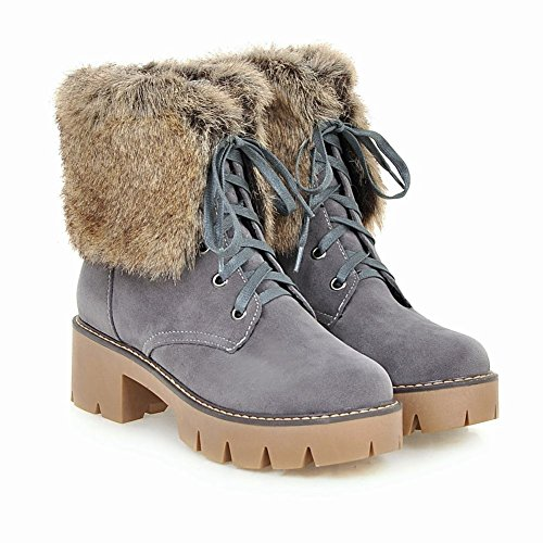 Chunky Lace Latasa Heels up Boots Ankle Faux Gray Winter Fur Womens WASrnXAxa