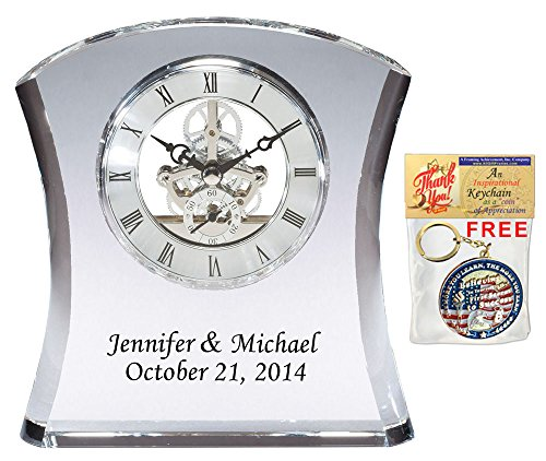 Etched Black Colorfill Engraving Personalization Tower Da Vinci Crystal Clock with Silver Dial. Desk Shelf Clock As Wedding Gift, Retirement, Employee Service Awards and Executive Gifts