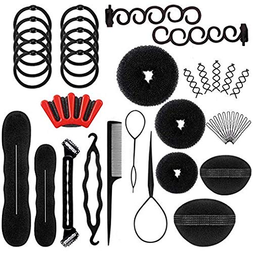 Hair Styling Accessories Kit Fashion Set Design Tools Magic Simple Fast Braid DIY for Women or Girls Bun Maker Making Twist Braided French Clip Braiding Hairstyle Plait and Pony Tail (as picture) (Simple And Best Hairstyle)