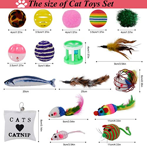 Legendog Cat Toys Set, 22PCS Kitten Toys Variety Cat Toy Pack Cat Toys Collection Kittten Toys Variety Pack Including Cat Feather Teaser Wand, Catnip Toy, Mice, Colorful Balls, Bells and so on for Cat 6