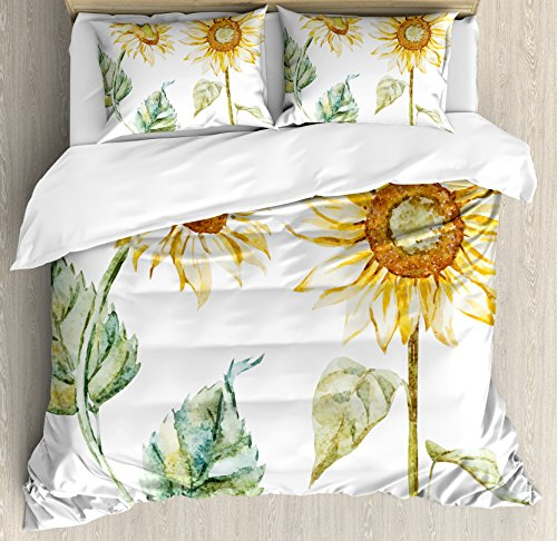 Ambesonne Watercolor Duvet Cover Set, Alluring Sunflowers Summer Inspired Design Agriculture, Decorative 3 Piece Bedding Set with 2 Pillow Shams, Queen Size, Yellow Green