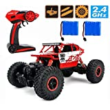 2.4Ghz 1/18 RC Rock Crawler Vehicle Buggy Car 4 WD Shaft Drive High Speed Remote Control Monster Off Road Truck RTR(Red)