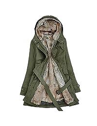 Newbestyle Women's Winter Slim Thicken Lamb Wool Hooded Parka Jackets with Belt