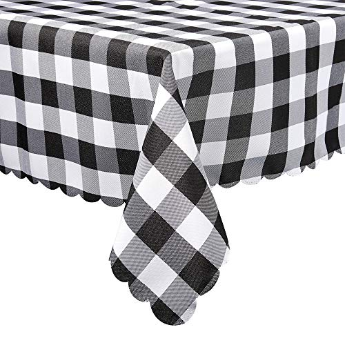 (Black and White Buffalo Plaid Square Tablecloth, Checkered Gingham Buffalo Washable Polyester Tablecloth, 36 x 36 Inch, Home, Kitchen, Dinner, Parties, Indoor, Outdoor, Buffet Tablecloth, Table Cover)