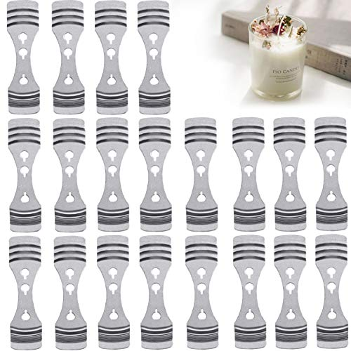 DINGPAI 20pcs Metal Candle Wick Centering Devices, Silver Stainless Steel Candle Wick Holder for Candle Making
