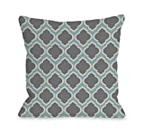 One Bella Casa Macy Moroccan Outdoor Throw Pillow by OBC, 18'x 18', Aqua/Light Gray