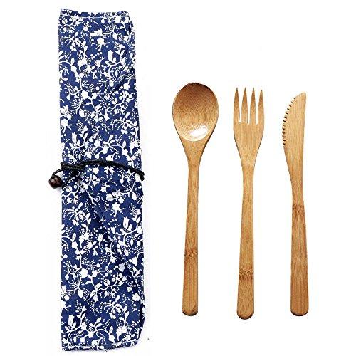 Ragdoll50 - Juego de cubiertos de bambú ecológicos de estilo japonés, incluye bolsa para la vajilla, with bag, free size