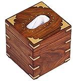 SouvNear 811778022091 Square Wood Tissue Box Cover Holder Paper Dispenser, Brown, Gold