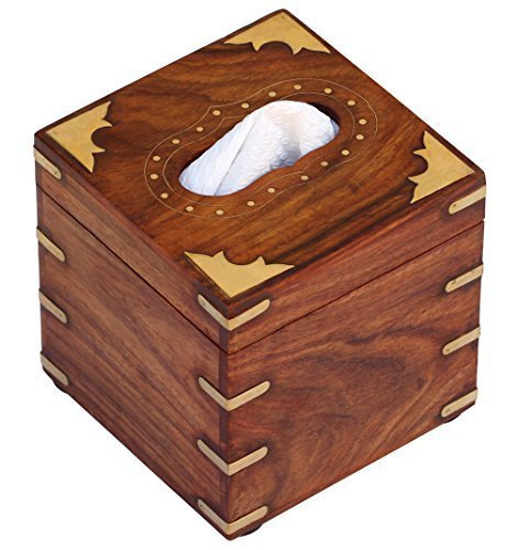 SouvNear 5 Inch Square Wood Tissue Box Cover Holder Paper Dispenser Upright Standing Decorative Box
