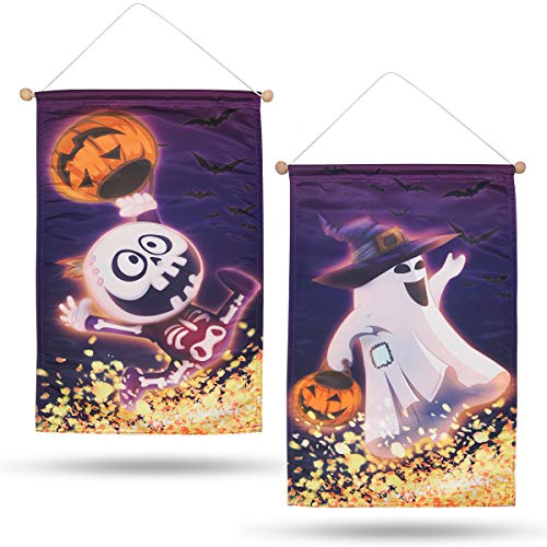 Pawliss Halloween Door Banner Decorations, 2 Pcs Pumpkin Ghost Skeleton Kids Family Friendly Party Banner, Fall Door Sign Wall Decor Garden Yard Flag, 21 x 14 inches]()