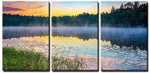Amazon Com Wall26 3 Piece Canvas Wall Art Foggy Sunrise Over Forest Lake Modern Home Art Stretched And Framed Ready To Hang 24 X36 X3 Panels Posters Prints