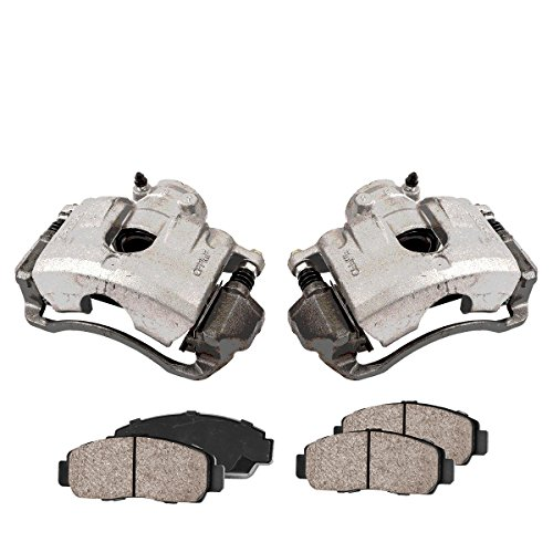 COEK00554 [2] FRONT Premium Loaded OE Caliper Assembly Set + Quiet Low Dust Ceramic Brake Pads