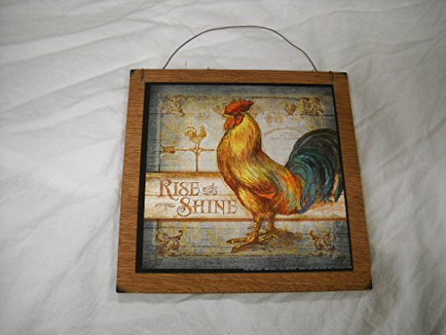 Rise and Shine Rooster Country Kitchen Wooden Wall Art Sign Farm Decor