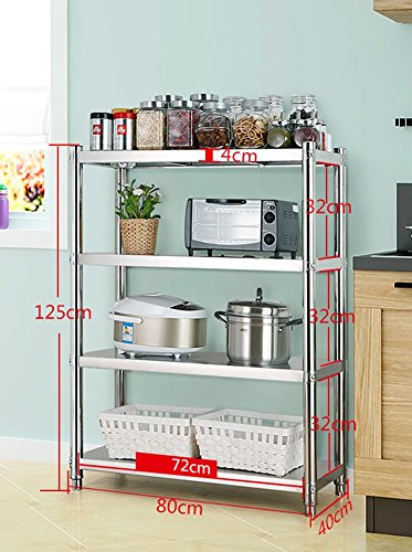 4 Tiers Metal Microwave Oven Stand Baker Rack Stainless Steel Storage Shelf With Table For Kitchen Appliances (Size : Length 72CM)