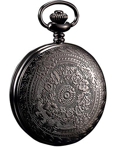 HELMASK pocket watch - Alloy Black Round man mens Analog quartz Half hunter Pocket Watch by HELMASK COLLECTION (Image #2)