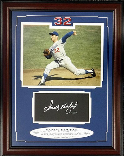 Sandy Koufax Signed Framed Board and Photo Los Angeles Dodgers UDA Stock #101875 - Autographed MLB Baseball Memorabilia (Framed Koufax Sandy Signed)