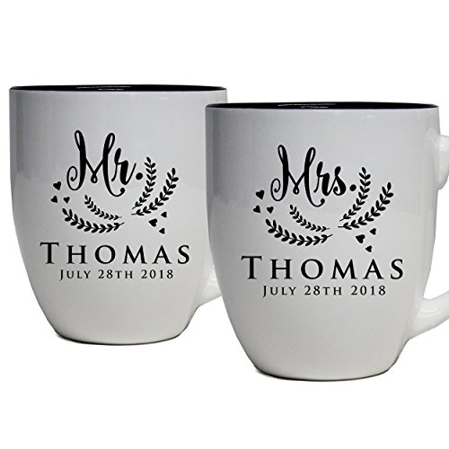 Set of 2 Personalized Mr. and Mrs. Coffee Latte 16oz Mugs for Couple - Custom Engraved Mug Gift for Bride, Groom His, Hers, Husband, Wife (White)]()