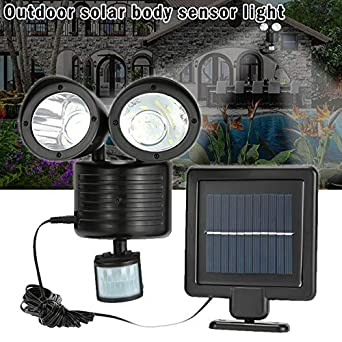 Dual Security Detector Solar Spot Light Motion Sensor Outdoor 22 LED a