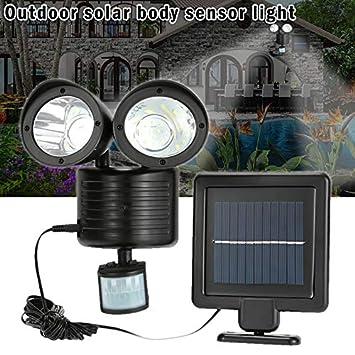 Solar 22 LED Flutlicht Strahler Scheinwerfer Außen Spot Licht Lampe Doppelkopf
