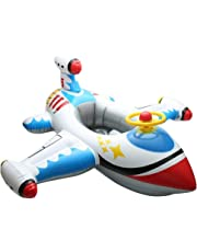 Sunshinetimes Inflatable Funny Airplane Baby Kids Swimming Float Seat Boat Pool Ring Children Toy Age 1-4 Years Old