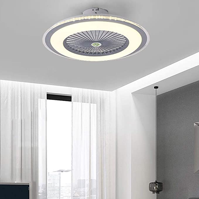 HYKISS LED Ceiling Light Fan Modern Nordic Dimmable Ceiling Lamp Fan Ultra-Thin Invisible 32W Fan Chandelier Adjustable Wind Speed Ultra-Quiet Bedroom Living Room Fan Ceiling Lighting ,Brown /Ø55CM