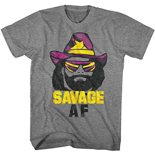 American Classics Macho Man 1980'S Wwf Heavyweight Wrestler Savage Adult T-Shirt Tee, Graphite Heather, Large