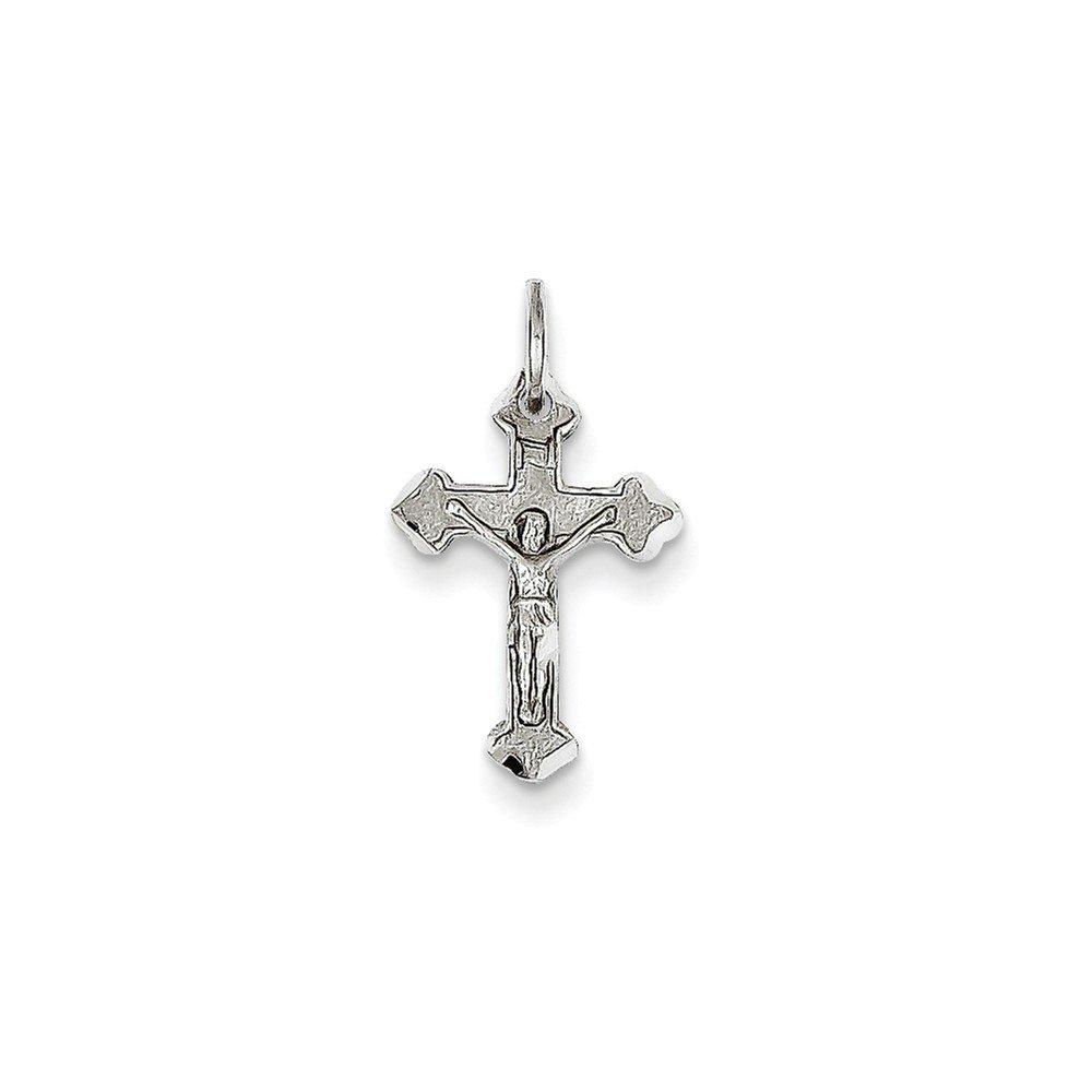 Best Birthday Gift 14k White Gold Diamond-cut Crucifix Charm