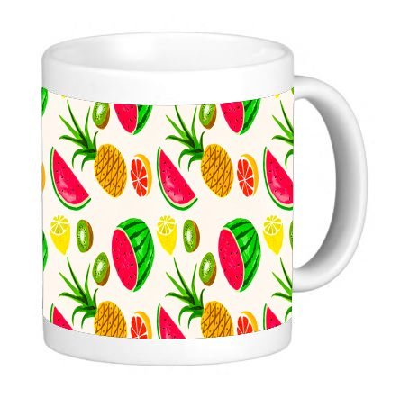 Fruit Bowl Fun Watermelon Wallpaper 11 ounce Ceramic Coffee Mug Tea Cup by Debbie's Designs ()