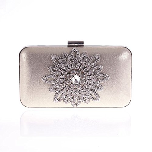 Flower À Gold De Moonlight Weatly Soirée D'embrayage Silver Diamant Main Party Sun Sac color t6q5aa4w