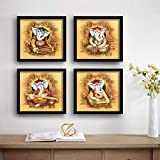SAF Ganesha Religious Set of 4 UV Textured Painting (19 x 19 Inches, SAF_SET4_1)