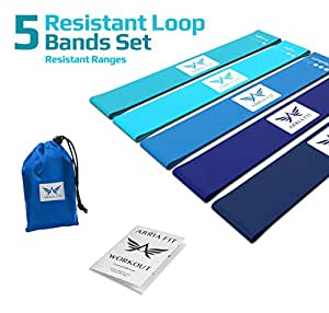 ARRIA FIT Resistance Bands Set of Five Resistance Loop Bands for Fitness Booty Building Leg and Glute Activation Exercise with Carry Bag Fitness Booty Bands Physical (Blue Collection)
