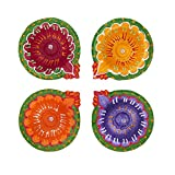 Set of 4 Diwali Decorations Colorful Oil Lamp Diya For Pooja/Puja Home Decor (Multicolor1)