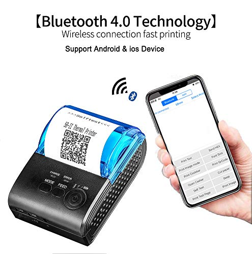 MUNBYN Bluetooth 4 0 Large Paper Warehouse Receipt Thermal Printer Portable  58mm Personal Bill Printer Wireless POS Compatible with iOS Android