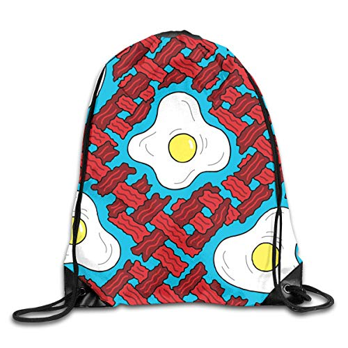 (LINSHANGYI Bacon Eggs Breakfast Food Drawstring Bags Backpack Funky String Cinch Bag Gym Rucksack Lightweight Storage Bag for)