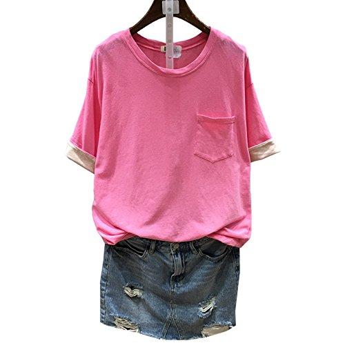 Xmy L'Institut des frais petit goût sucré frappé, roulé et candy-couleur forme unie manches courtes T-shirt femmes T-shirt à manches longues code sont