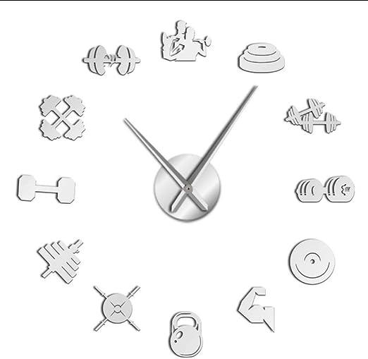 Amazon Com Mubgo Wall Clocks White Bodybuilding Sport Gym 3d Diy Acrylic Mirror Wall Clock Watch Wall Decor Wall Clock Fitness Lover Gift 37inch Home Kitchen