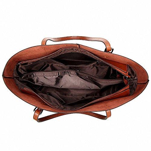 manico 15 Womens Casuale Retrò Top Capacità Grandi Spalla 5inch Borse Viola Vintage Soft Tote A Pelle 8OwqB8pF