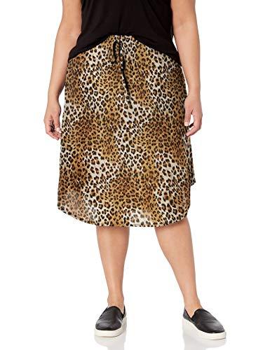 Star Vixen Women's Plus-Size Tie-Waist Ity Stretch a-Line Mid-Length Skirt, Leopard Print, 2X