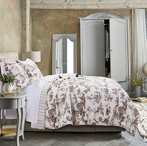 (Greenland Home Classic Toile Quilt Set Full/Queen Taupe)